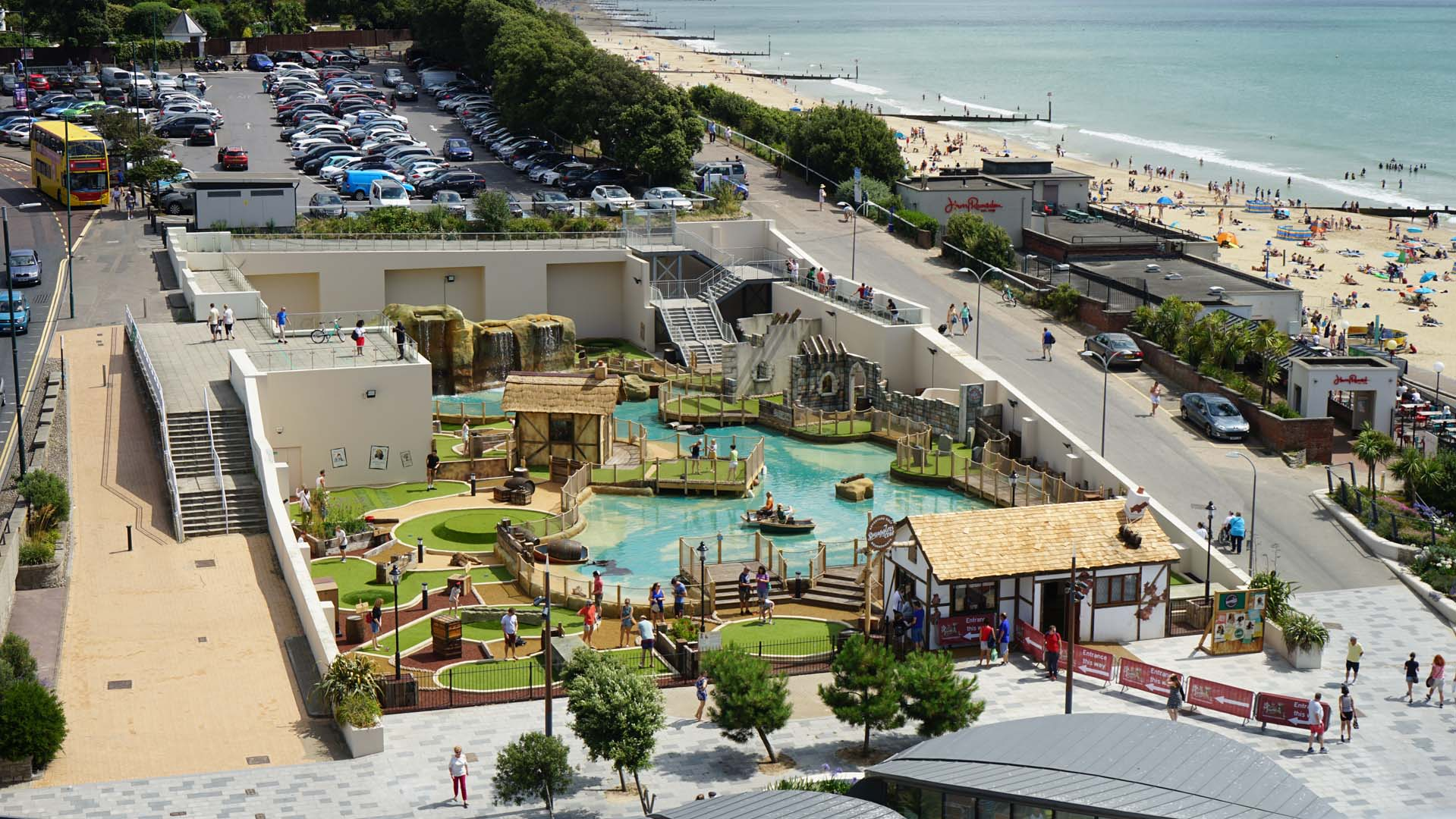 Aerial shot of the Smugglers Crazy Golf Course in Bournemouth