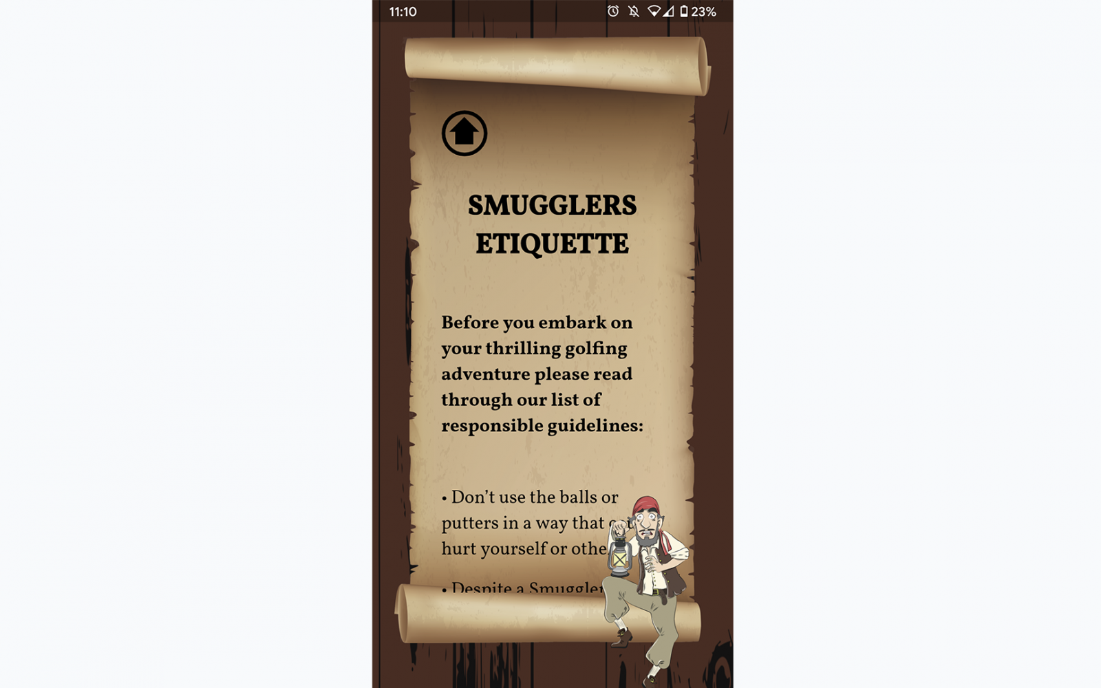 Screenshot of the scroll with the smugglers rules on the mini golf app