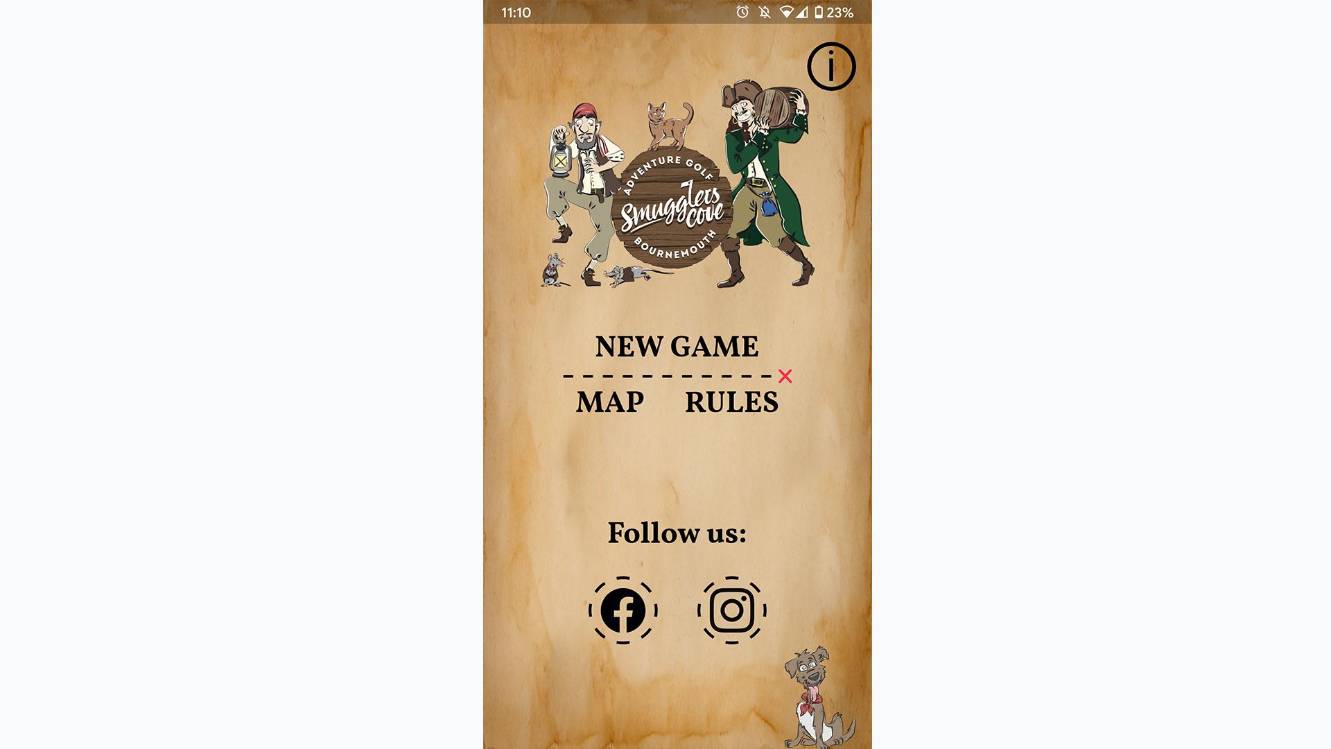 Smugglers Cove scorecard app homepage