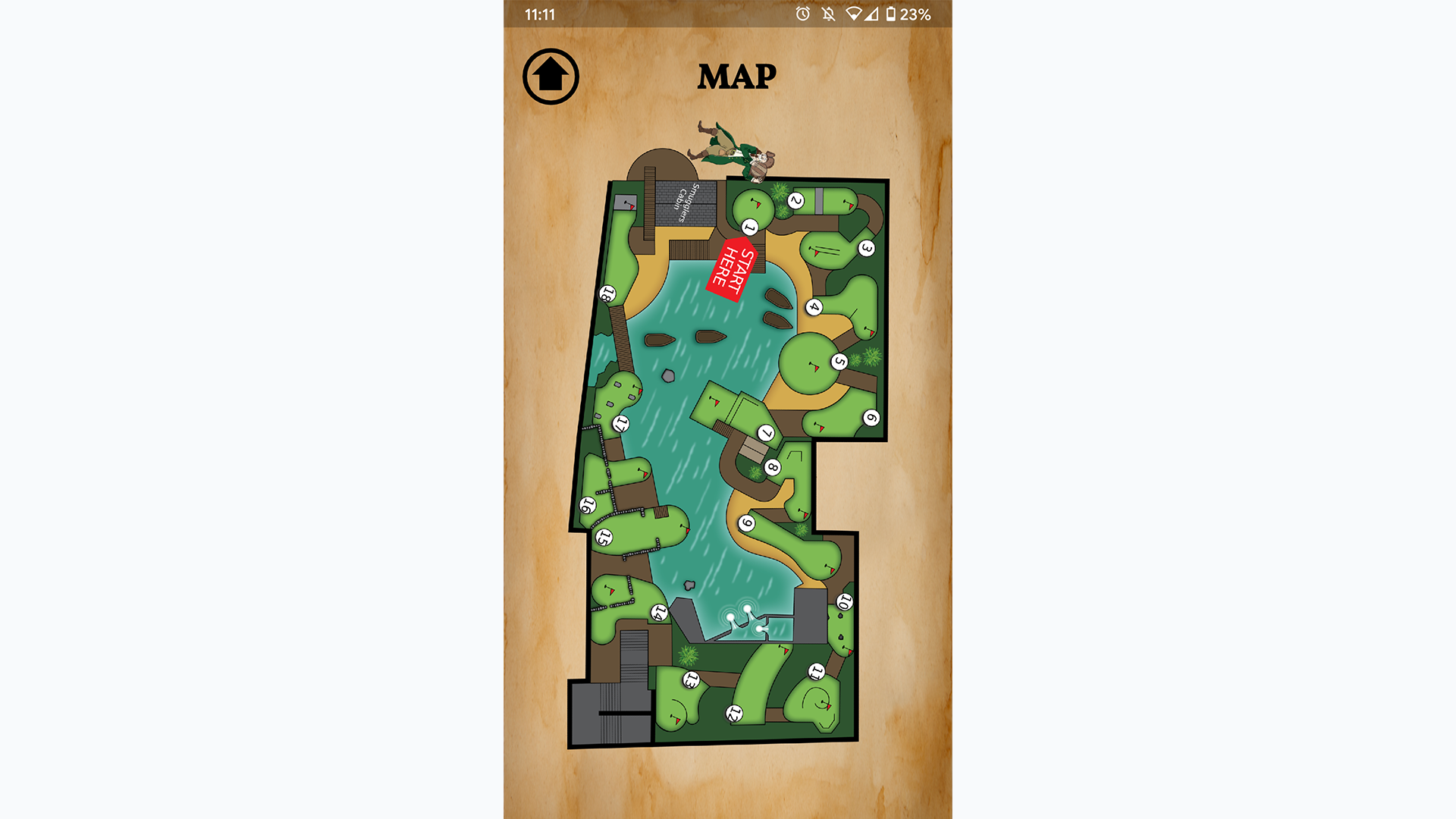 Map of the smugglers cove course on the app